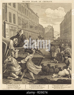 The Second Stage of Cruelty. Dated: 1751. Medium: etching and engraving. Museum: National Gallery of Art, Washington DC. Author: William Hogarth. - Stock Photo