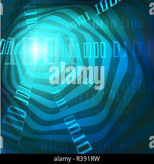 Abstract blue flow of big data, number of binary code visualization,  Vector illustration concept for transmission, digital analysis, information - Stock Photo