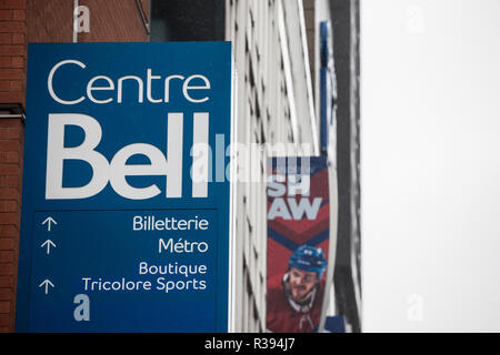 MONTREAL, CANADA - NOVEMBER 3, 2018: Bell Center logo, known as Centre Bell, in front of their main building. It is a sports and entertainent center,  - Stock Photo