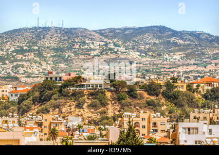 View of the town of Paphos in Cyprus.  Paphos is known as the center of ancient history and culture of the island.  It is very popular as a center for - Stock Photo