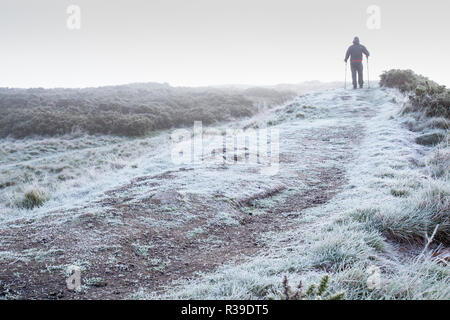 Flintshire, North Wales, 22nd November 2018. UK Weather:  Arctic air mass remains over the UK with many parts of the UK covered with a thick overnight frost with some temperatures reported to be at -7C. An early morning hill walker taking in a walk amongst the freezing fog on the frozen and bitingly cold iron age hillfort Moel-y-Gaer part of Halkyn Mountain, Flintshire © DGDImages/AlamyLiveNews - Stock Photo