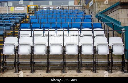 Adams Park, High Wycombe, UK. 22nd Nov 2018. Safe seating at Football Stadiums (Wycombe Wanderers are the first club in the country to install the new 2020 seat, produced by Grand Stand seating Systems Ltd in conjunction with Alderdale seating, which enables supporters to choose to stand or sit without having an obscured view of the pitch) at Adams Park, High Wycombe, England on 22 November 2018. Photo by Andy Rowland. Credit: Andrew Rowland/Alamy Live News - Stock Photo