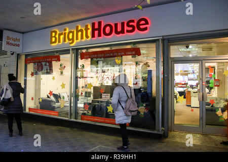 London, UK. 22 Nov 2018 - New price cap on rent-to-own firms like BrightHouse that leave thousands in debt. The Financial Conduct Authority (FCA) has proposed to introduce a price cap on the rent-to-own (RTO) sector as part of efforts to protect some of Britain's most vulnerable housheolds. The cap, subject to consultation, will come into force on 1 April 2019 and provide protection for customers - many of whom aren't earning enough to repay the contracts they're placed on.  Credit: Dinendra Haria/Alamy Live News - Stock Photo