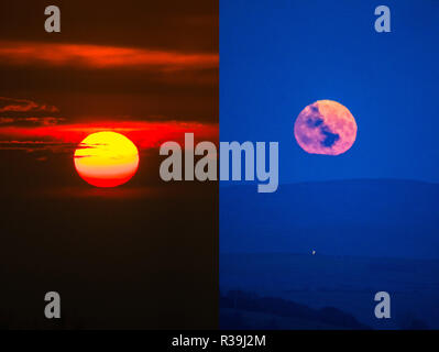 Aberystwyth, Wales, UK. November 22 2018. A double frame image of the the full moon, known this month as the Beaver Moon, rising over the hills outside Aberystwyth , mid Wales, on a freezing cold November night, photographed from the same location where, in the directly opposite direction, and half an hour before,  the sun set spectacularly through the clouds  photo credit: Keith Morris / Alamy Live News - Stock Photo