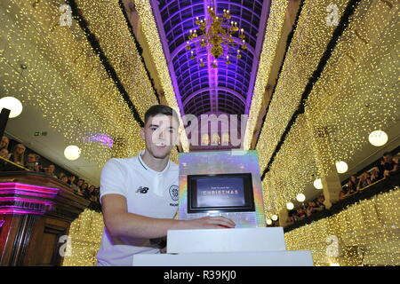Glasgow, Scotland, UK. 22nd November 2018. Celtic's ace, Kieran Tierney switches on the Iconic Frasers Christmas lights at Mike Ashley's new House Of Fraser in Glasgow.  The event is to raise funds for St Margaret of Scotland Hospice in Clydebank. Credit: Colin Fisher/Alamy Live News - Stock Photo