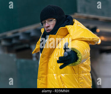 New York, NY - November 22, 2018: Bad Bunny rides float 92nd Annual Macy's Thanksgiving Day Parade on the streets of Manhattan in frigid weather Credit: lev radin/Alamy Live News - Stock Photo
