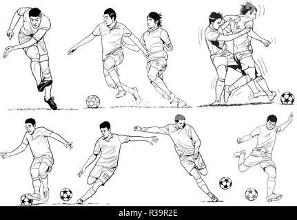 Soccer players in line art illustrations. - Stock Photo