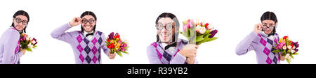 Man holding tulips isolated on white - Stock Photo