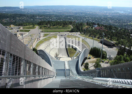 panoramic views from the holmenkollen ski jump in oslo,norway - Stock Photo