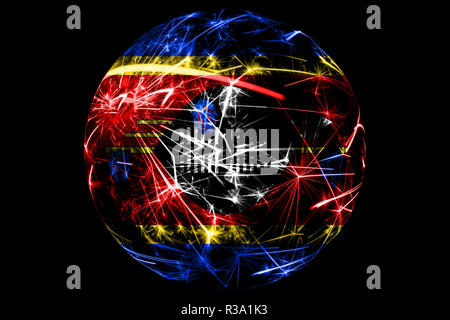 Abstract Swaziland sparkling flag, Christmas ball holiday concept isolated on black background - Stock Photo