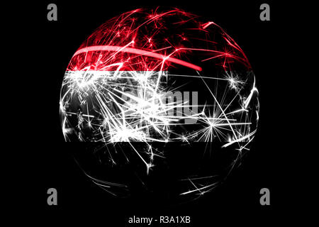 Abstract Yemen sparkling flag, Christmas ball holiday concept isolated on black background - Stock Photo