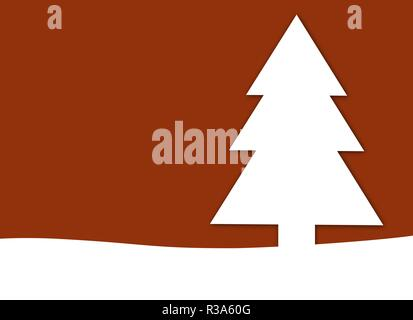 red christmas card with pine tree - Stock Photo