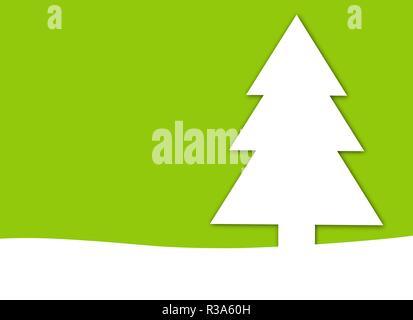 christmas card light green with christmas tree - Stock Photo