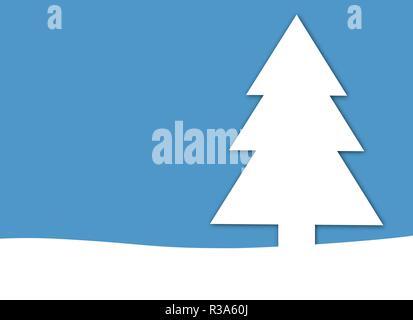 blue christmas card with fir tree - Stock Photo