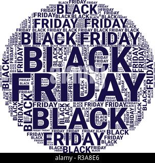 Black Friday Wordcloud. Typography concept. Text cloud. Vector illustration - Stock Photo