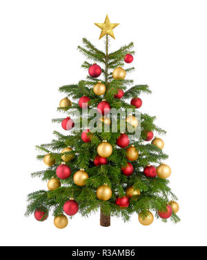 red and gold decorated christmas tree - Stock Photo