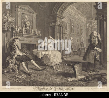 Marriage a la Mode: pl. 2. Dated: 1745. Medium: etching and engraving. Museum: National Gallery of Art, Washington DC. Author: Bernard Baron after William Hogarth. after William Hogarth. William Hogarth. Bernard Baron. - Stock Photo