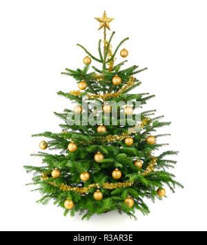 beautiful,gold-decorated christmas tree - Stock Photo