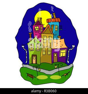 Stock Illustration Cartoon Night Town on a White Background - Stock Photo