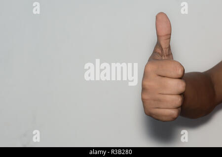 Asian Caucasian business man woman corporate employee showing thumps up, isolated white background. Approval, agree, like, positive approve, win-winne - Stock Photo