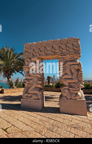 Tel Aviv-Yafo, Israel, October 2017. Statue of Faith or Gate of Faith in Abrasha Park in the old city of Yafo. - Stock Photo