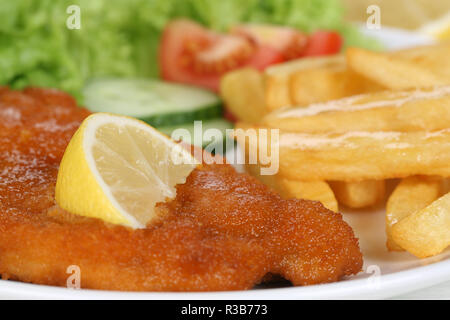 breaded wiener schnitzel dish with chips and salad on plate - Stock Photo