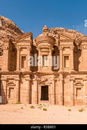 Monastery, rock temple Ad Deir, rock tomb, Nabataean architecture, Khazne Faraun, mausoleum in the Nabataean city Petra - Stock Photo