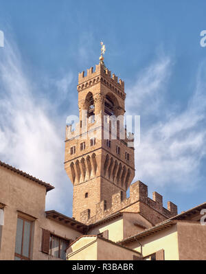 Detail of the Tower of Palazzo Vecchio, Florence, Italy - Stock Photo