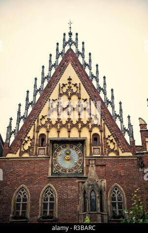Town hall clock house in wroclaw, poland on white sky background. Architecture, gothic style, design concept. Landmark, attraction, sightseeing - Stock Photo