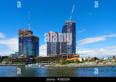 High rise apartments under construction, Elizabeth Quay, Perth, Western Australia - Stock Photo