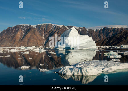 Eastern Greenland, Scoresbysund, aka Scoresby Sund. Scenic ice filled Oer Fjord. - Stock Photo