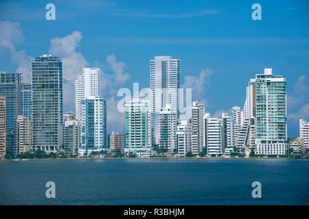 South America, Colombia, Cartagena. Modern Boca Grande area city skyline view from Cartagena Bay. - Stock Photo