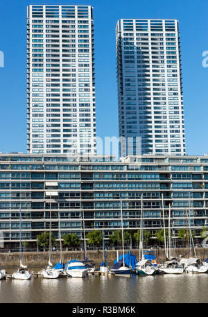 skyscrapers and marina in puerto madero,buenos aires - Stock Photo