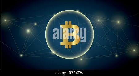 digital big bitcoin network crypto currency vector illustration EPS10 - Stock Photo