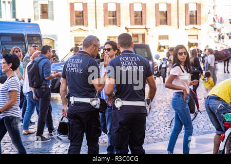 Italian police officers on patrol in central Rome,Lazio,Italy,Europe - Stock Photo