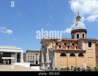 San Rocco church and the Museum of the Ara Pacis in Rome. - Stock Photo