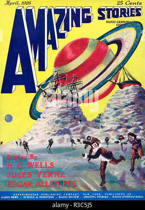 AMAZING STORIES American science fiction magazine cover April 1926 - Stock Photo