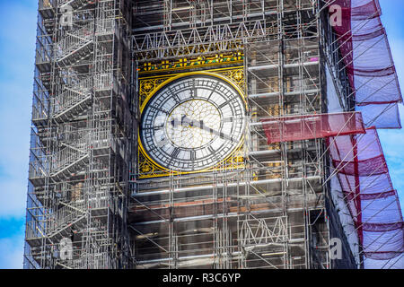 The Big Ben clock tower under repair and maintenance, fallen silent for major repair work expected to last until 2021, London, England, United Kingdom - Stock Photo