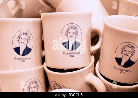 A selection of ELIZABETH WARREN 2020 coffee mugs for sale at Fishs Eddy, a flatware, dishes, glasses & tchotchke shop on Broadway in Lower Manhattan. - Stock Photo