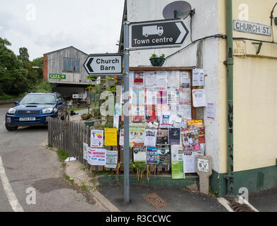 Town notice board in Bishops Castle, Shropshire, England, UK - Stock Photo
