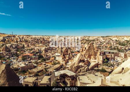 Beautiful view of Goreme, Turkey, Cappadocia. The famous center of flight balloons.