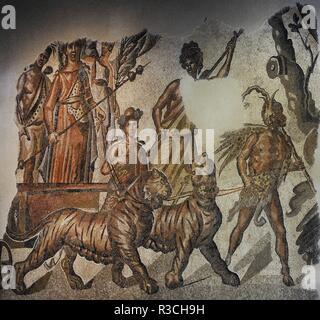 Mosaico romano del Triunfo de Baco. Representa a Baco sobre un carro tirado por dos tigresas, junto a una Victoria alada y un Sátiro. Encabeza el cortejo una Ménade danzante (sólo se conserva en parte), seguida de Pan con el nébris, guiando a las fieras tirando de las riendas. Junto a las tigresas, una Ménade con corona de hiedra y antorcha y una niña. Siglo II. Mármol. Procedente de Caesaraugusta (Zaragoza). Museo Arqueológico Nacional. Madrid. España. - Stock Photo