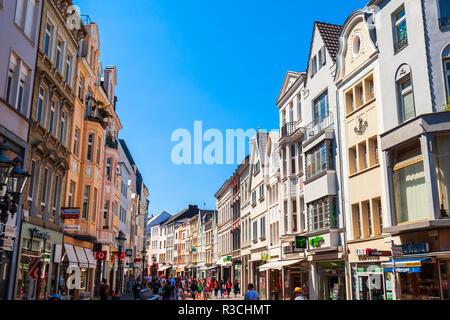 BONN, GERMANY - JUNE 29, 2018: Pedestrian street in the centre of Bonn city in Germany