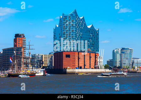 HAMBURG, GERMANY - JULY 07, 2018: Elbe Philharmonic or Elbphilharmonie is a concert hall in the HafenCity quarter of Hamburg in Germany - Stock Photo