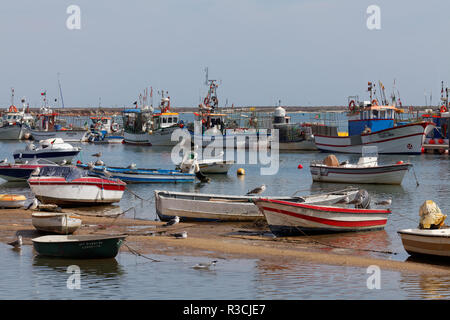 fishing boats in santa luzia - Stock Photo
