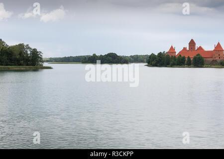beautiful medieval trakai castle in an island - Stock Photo