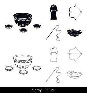 .mongol dressing gown, battle bow, theria on the map, Urga, Khlyst. Mongolia set collection icons in black,outline style vector symbol stock illustrat - Stock Photo