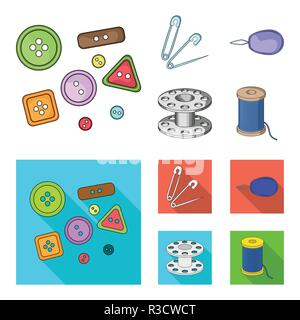Buttons, pins, coil and thread.Sewing or tailoring tools set collection icons in cartoon,flat style vector symbol stock illustration . - Stock Photo