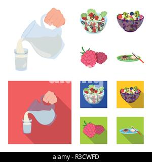 Fruit, vegetable salad and other types of food. Food set collection icons in cartoon,flat style vector symbol stock illustration . - Stock Photo