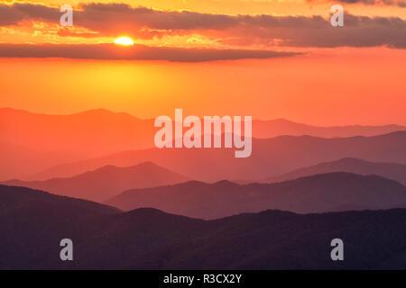USA, North Carolina, Great Smoky Mountains National Park. Autumn sunset from Clingmans Dome - Stock Photo